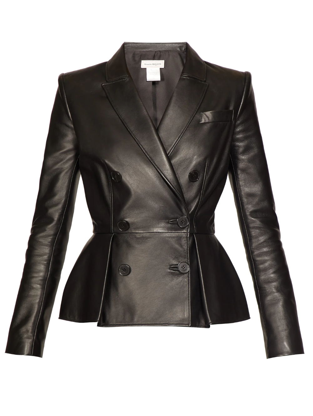 Pleat Front Double Breasted Leather Jacket Alexander Mcqueen Matchesfashion Us Leather Jackets Women Leather Jacket Womens Black Leather Jacket [ 1332 x 1000 Pixel ]