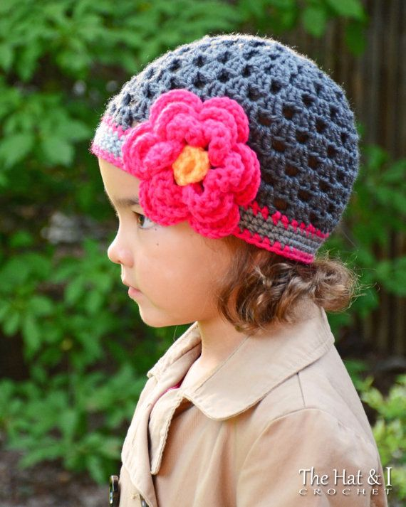 Crochet Hat PATTERN - Flowerific! - crochet pattern women girls ...