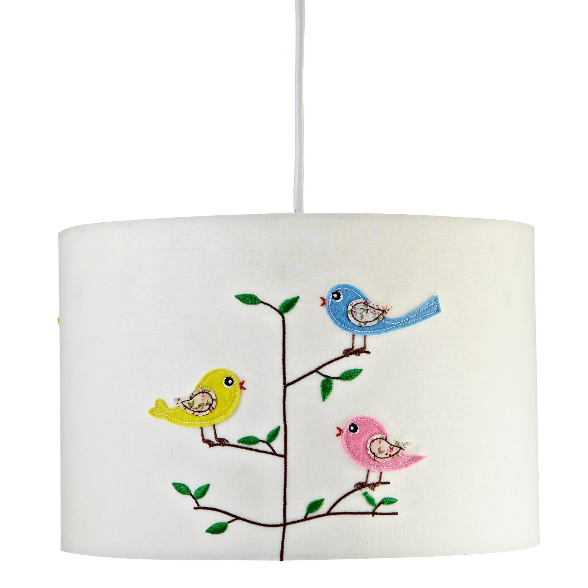Diy supplies accessories diy at b q - Colours Rosalba White Embroiderd Bird Light Shade Dia 118mm Departments Diy At
