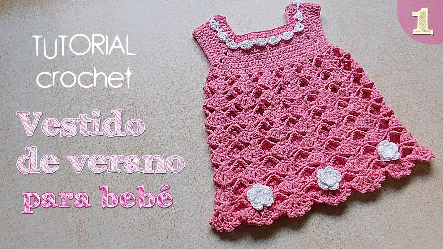 Como tejer vestido a crochet para bebe (1/2) | Bordes de ganchillo ...