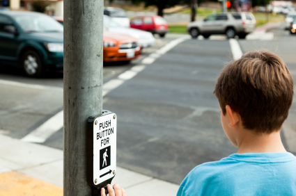 photo of child at crosswalk