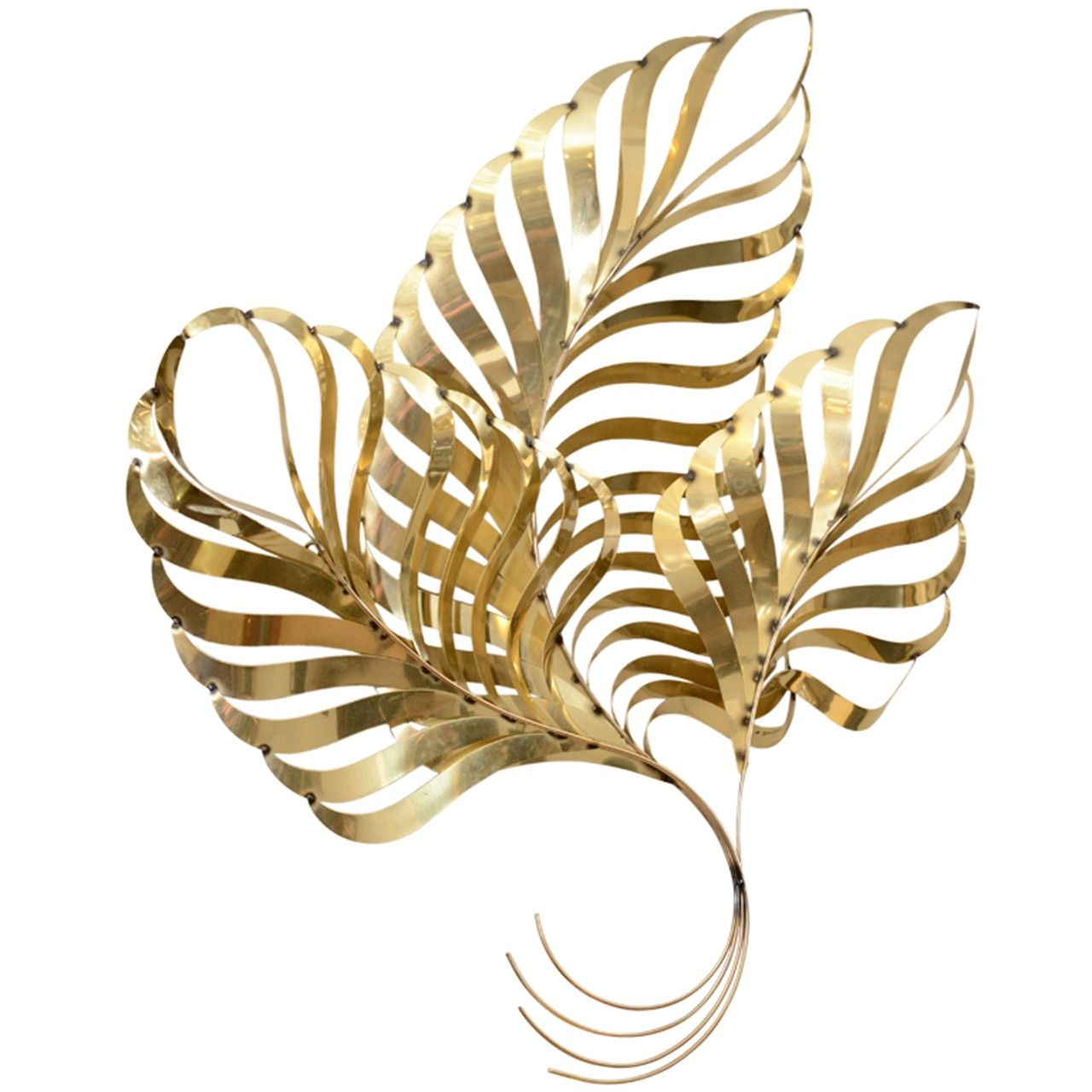 Large vintage brass leaf wall sculpture by curtis jere house ideas