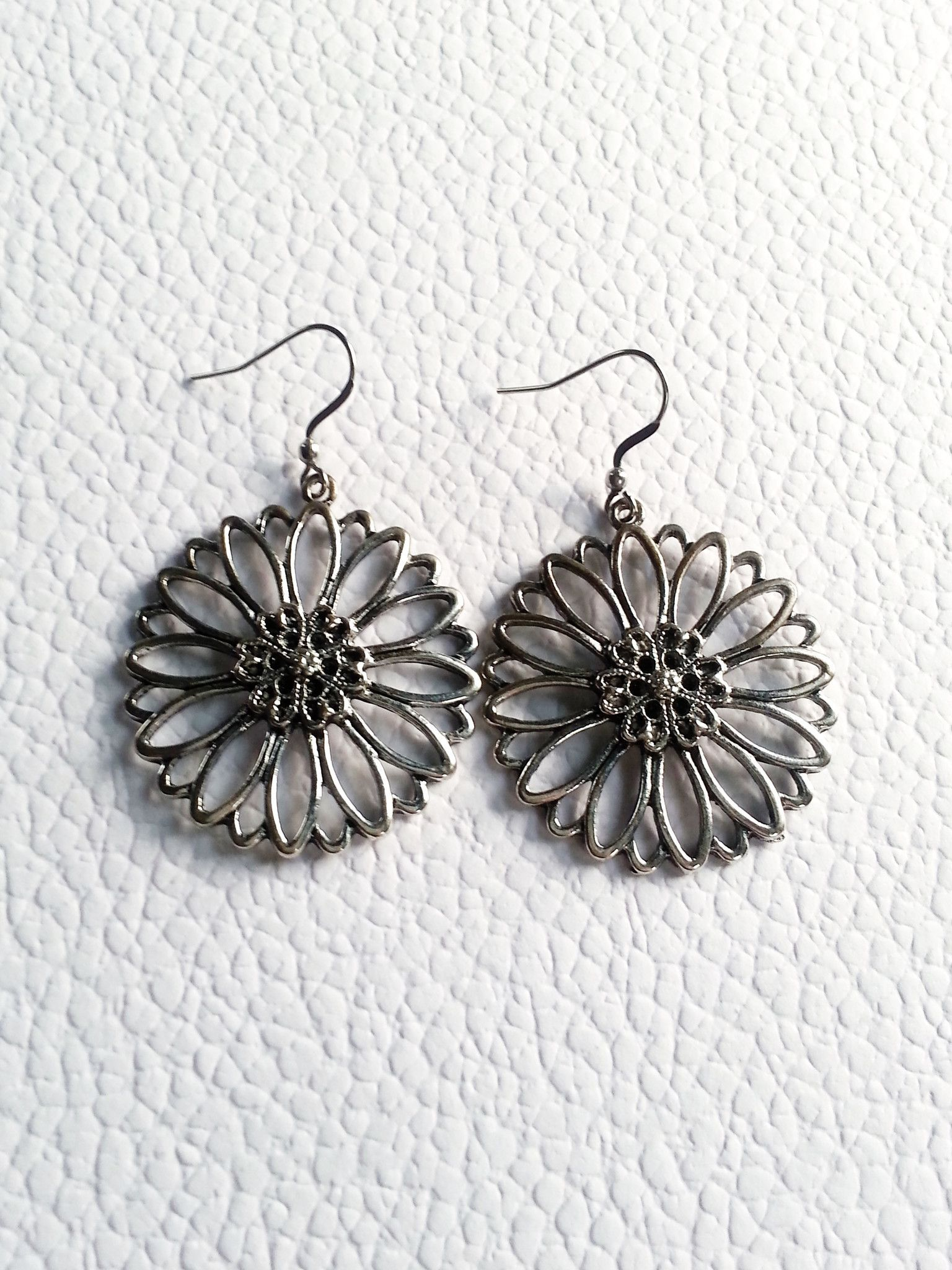 Antiqued Silver Flower Drop Earrings with Stainless Steel Ear Hooks
