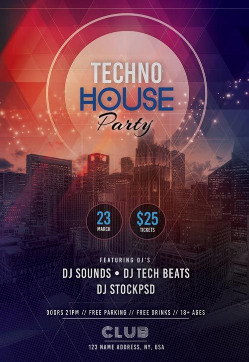 Free Tech House Party Flyer Template  HttpFreepsdflyerCom