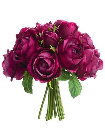 Silk Purple Fuchsia Open Rose Bouquet