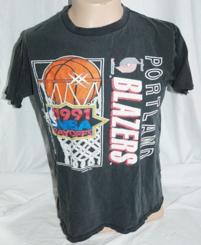 on sale da7c3 2853c 1991-NBA-Playoffs-Vintage-Portland-Trail-Blazers-T-Shirt ...