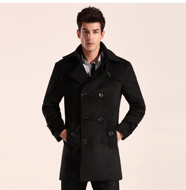 2015 New Men Trench Coat & Overcoat/ Long Double-Breasted Pea Coat ...