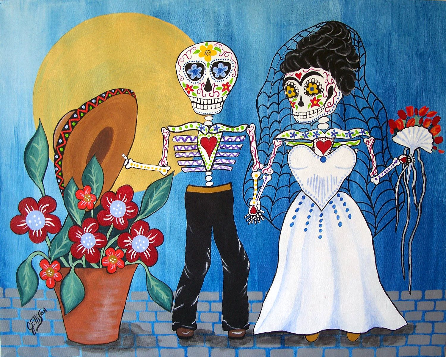 112 best day of the dead images on pinterest sugar skulls day print folk art mex day of the dead frida kahlo wedding painting julie dailygadgetfo Choice Image