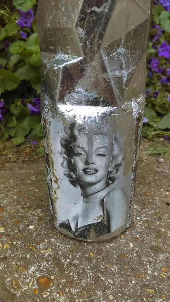Marilyn Monroe altered bottle,decoupaged bottle,Decanter,Hand decorated bottle,shabby chic bottle,c