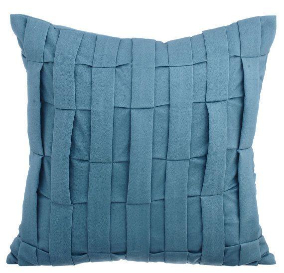 Decorative Pintucks Textured Striped Sofa Throw 16 X16 Faux Suede Throw Cushion Cover Dull Blue Throw Cushion Dull Blue Love Tune Suede Throw Pillows Cushions On Sofa Blue Couches