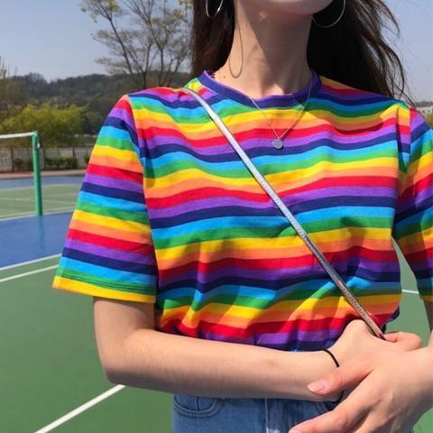 7530a915ad Summer Clothing Woman Tshirt Top 2018 Korean Style T-shirts Ulzzang  Harajuku Rainbow Striped Short Sleeve T-shirt For Women Tees
