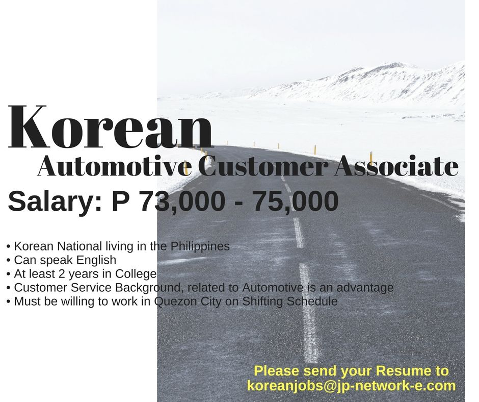 Korean Jobs in the Philippines Apply now! Visit our website for the - Resume Now Customer Service