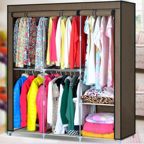 Home Portable Wardrobe Cloth Hanger Rack Shelves Closet Storage