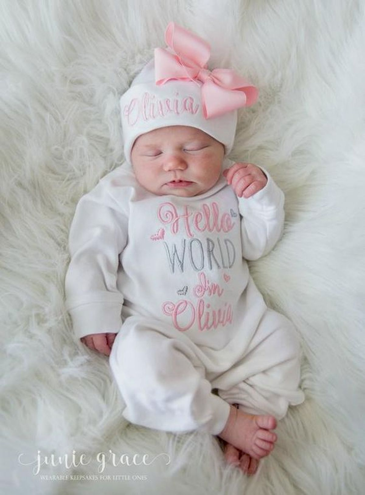 Newborn Baby Girl Baby Girl Coming Home Outfit Personalized Gown or Bodysuit and Cap