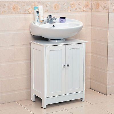 Undersink Bathroom Cabinet Cupboard Vanity Unit Under Sink Basin Storage Wood Bathroom Sink Storage Bathroom Sink Units Pedestal Sink Storage