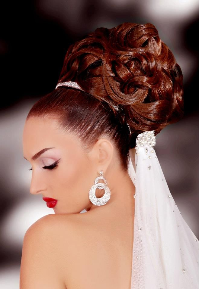 Amazing Loose Curl Bouffant Updo With Attached Wedding