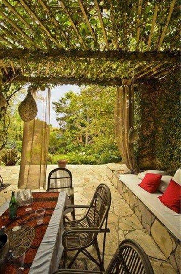 Cubriendo el techo con enredaderas terrazas pinterest for Techos para patios exteriores