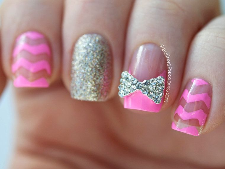 Cute Nails Designs With Diamonds And Bows Nail Design Art Pinterest