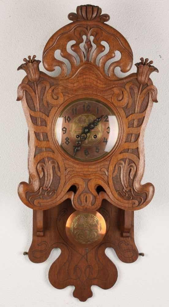 antike deutscher jugendstil eiche frei pendel beschriftete rs peitsche mit blumenschmuck auf. Black Bedroom Furniture Sets. Home Design Ideas