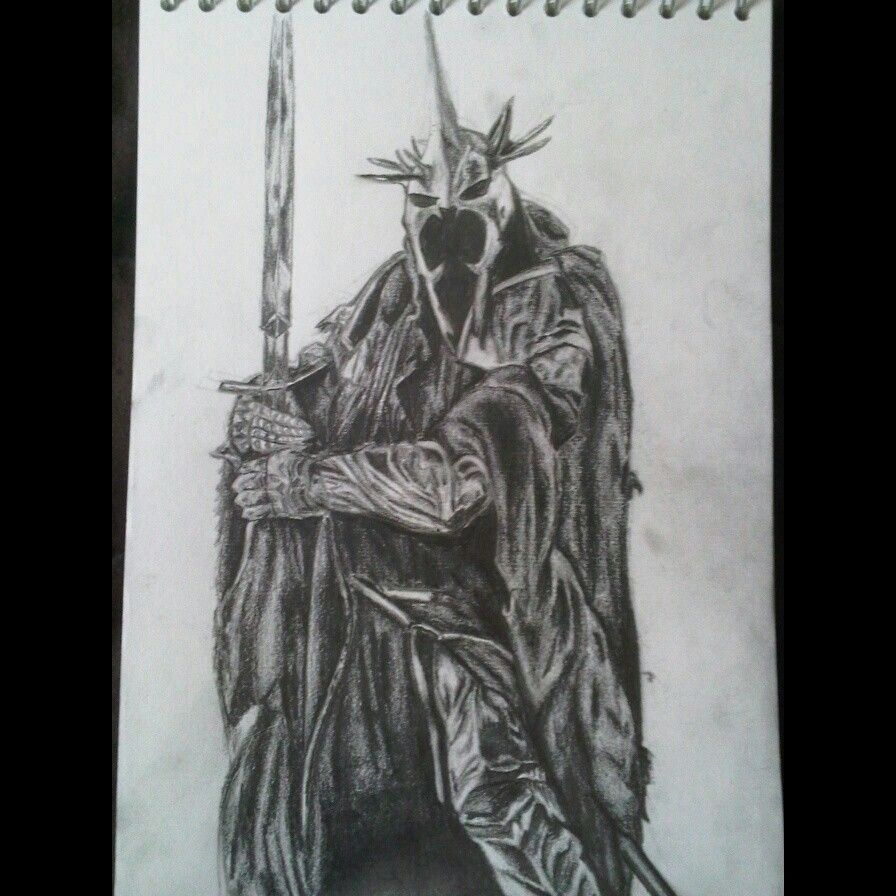 The lord of the rings witch king of angmar drawing all in pencil on paper a4