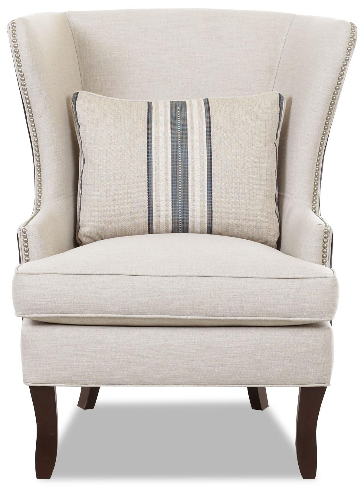 Chairs And Accents Transitional Krauss Wing Chair With Nail Head Trim By  Klaussner At Dunk U0026 Bright Furniture