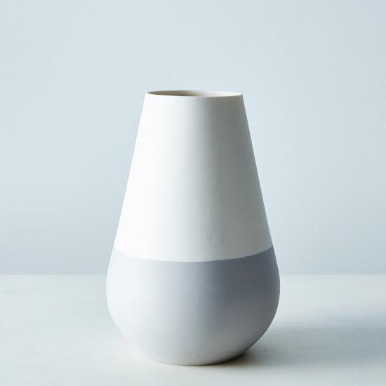 White Gray Ceramic Vase Vase Tabletop Hawkins New York Shop Food52 Ceramic Vase Grey Ceramics Vase Design