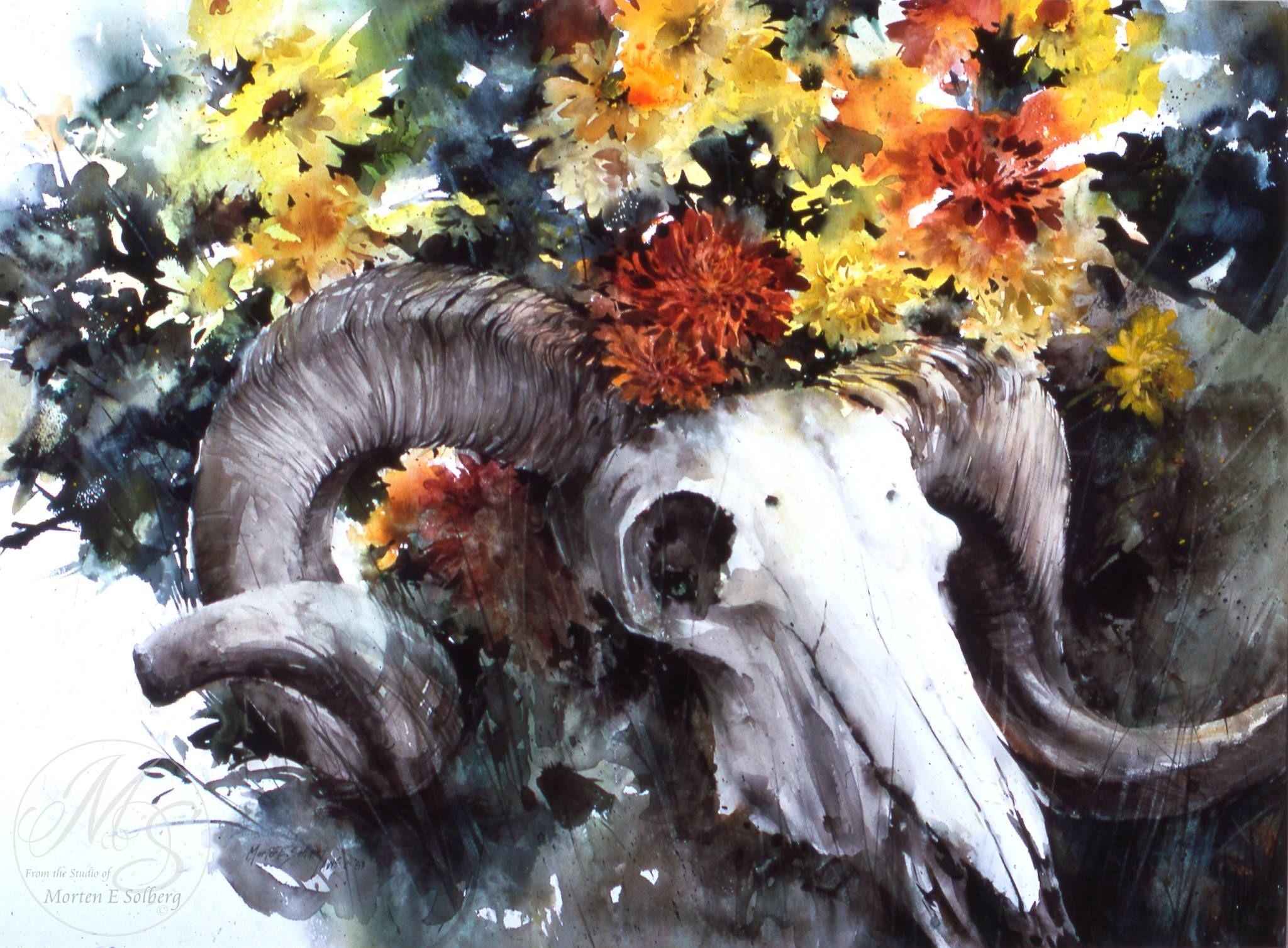 """Skull and Flower Demo,"" watercolor by Morten E. Solberg Sr."