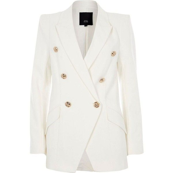 Free Shipping High Quality Best Cheap Online Womens White double breasted tux style jacket River Island Many Colors HuhPnG