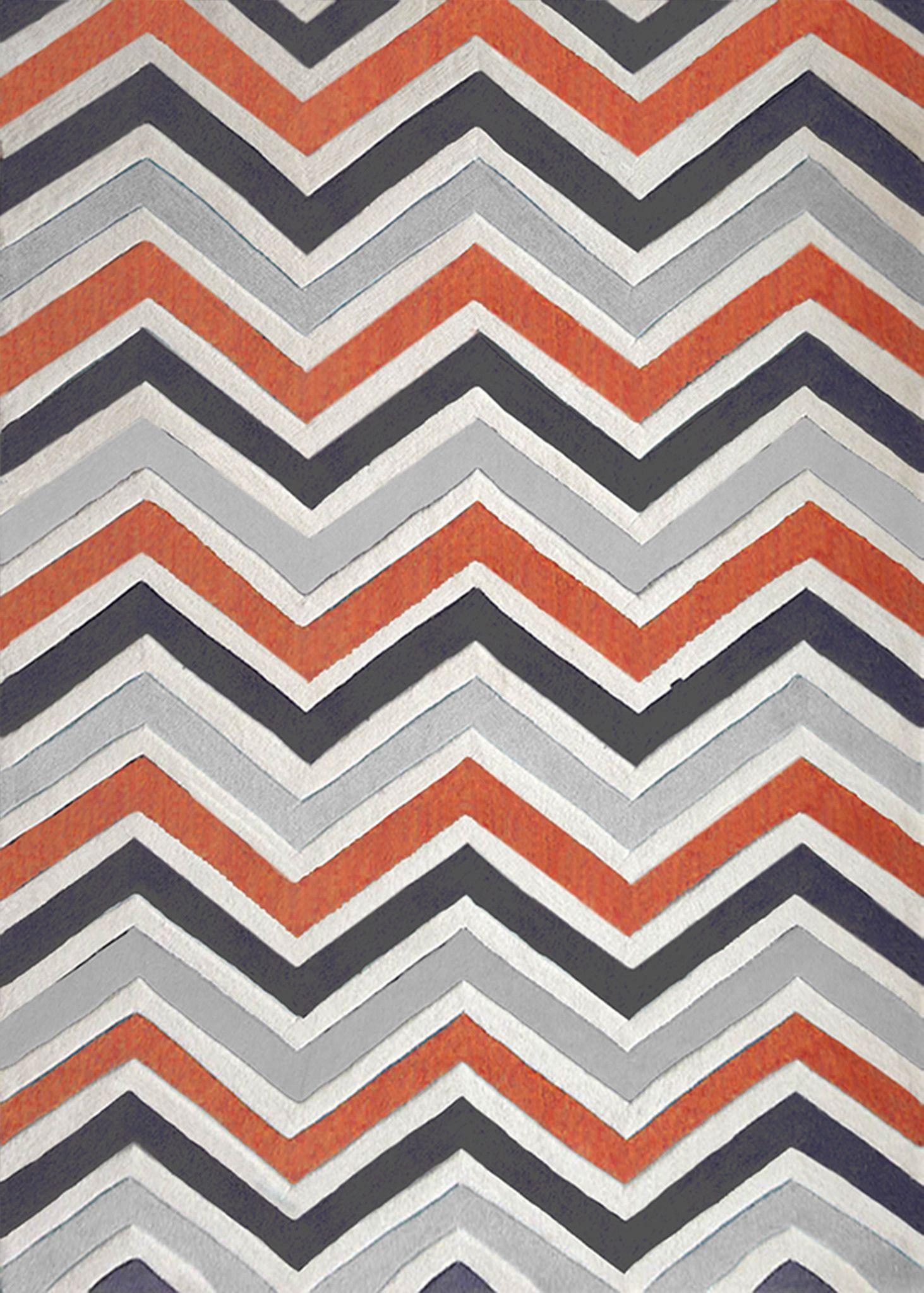 Contemporary Modern Grey With Orange Indoor Area Rug