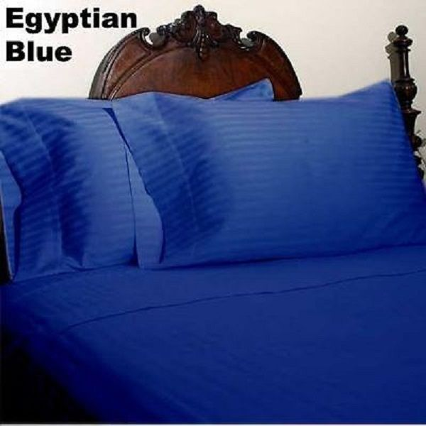 1000 TC EGYPTIAN COTTON ALL BEDDING ITEM LIGHT BLUE STRIPED ALL SIZES