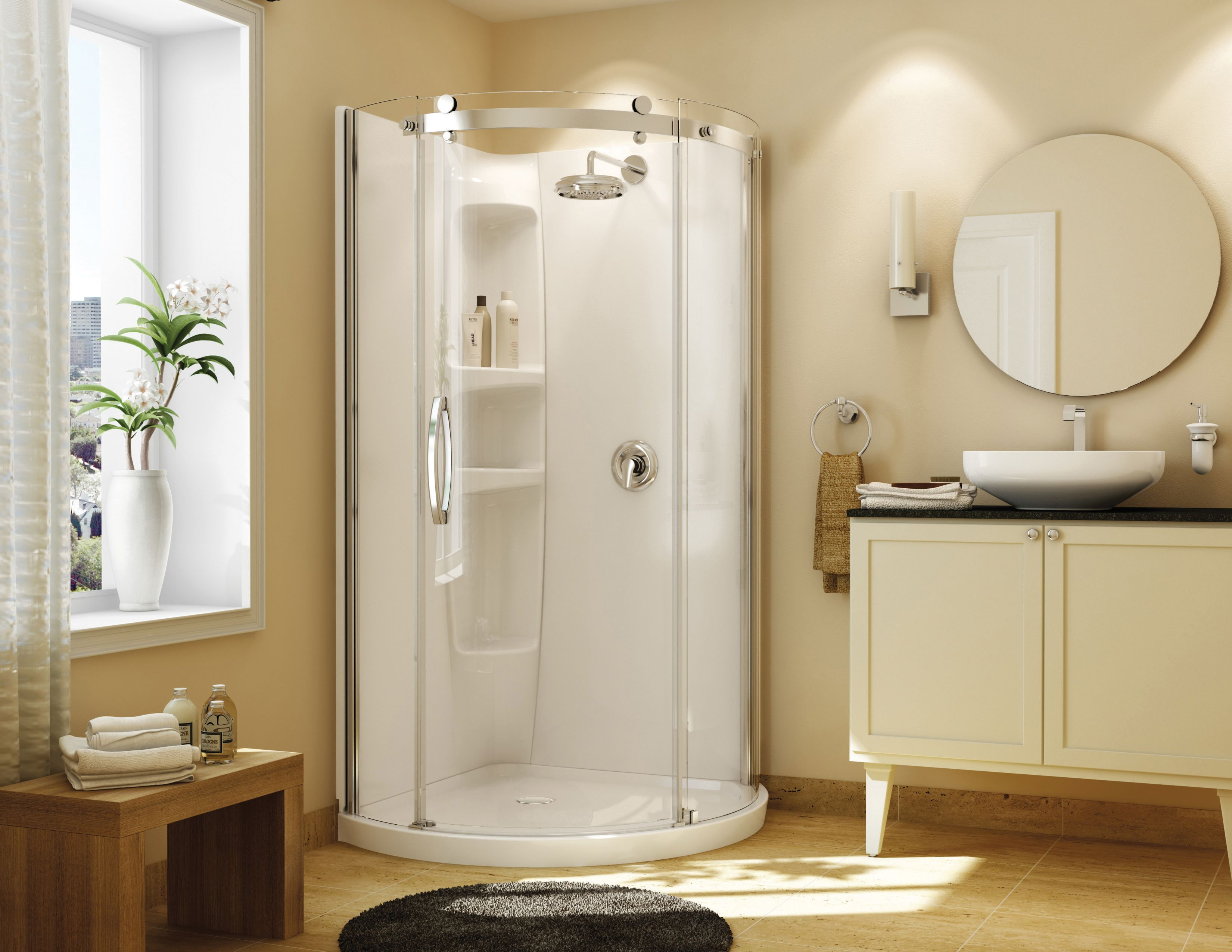 Corner Kit Makes Your Bathroom Feel Bigger Http Www Menards Com Main Bath Bathing Showers Maax Reg Olympia Corner Shower Kits Corner Shower Shower Wall Kits