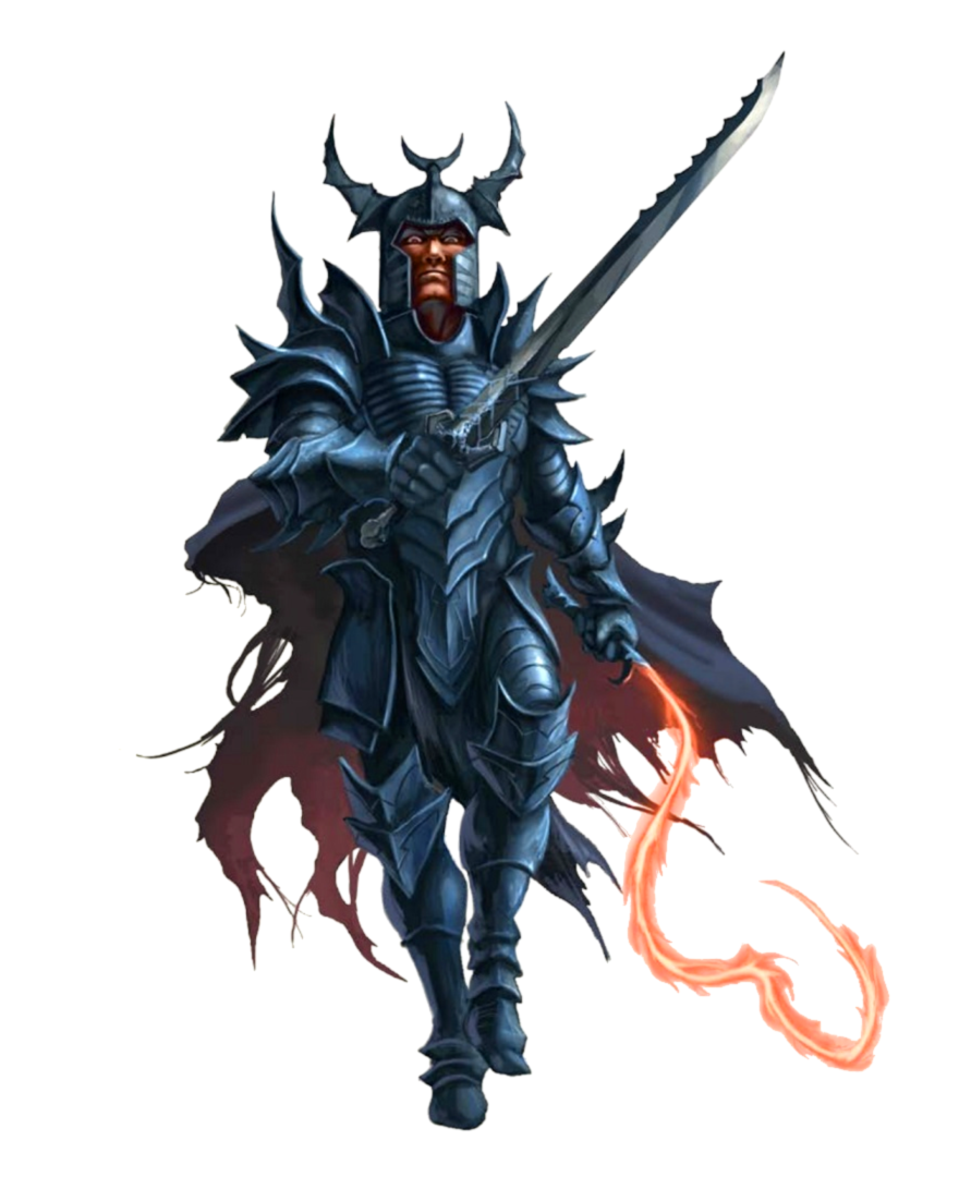 Male Human Antipaladin - Sword and Flame Whip - Pathfinder PFRPG DND