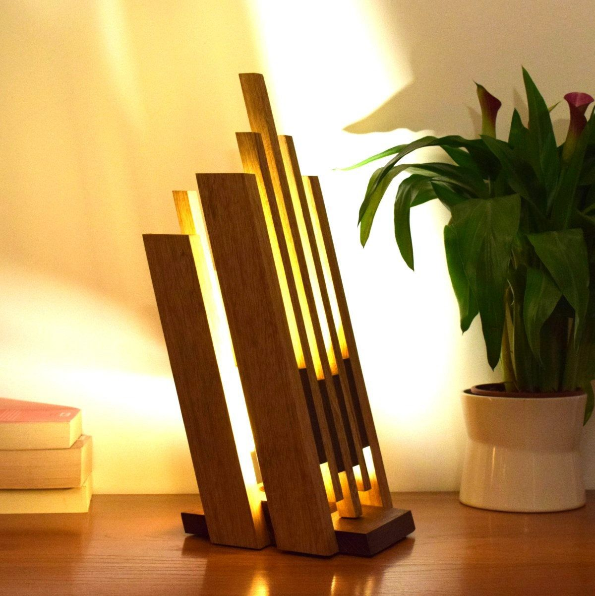 Lampe En Bois Massif Eclairage Led Betaro Wood Light Lamp Art Deco Lamps