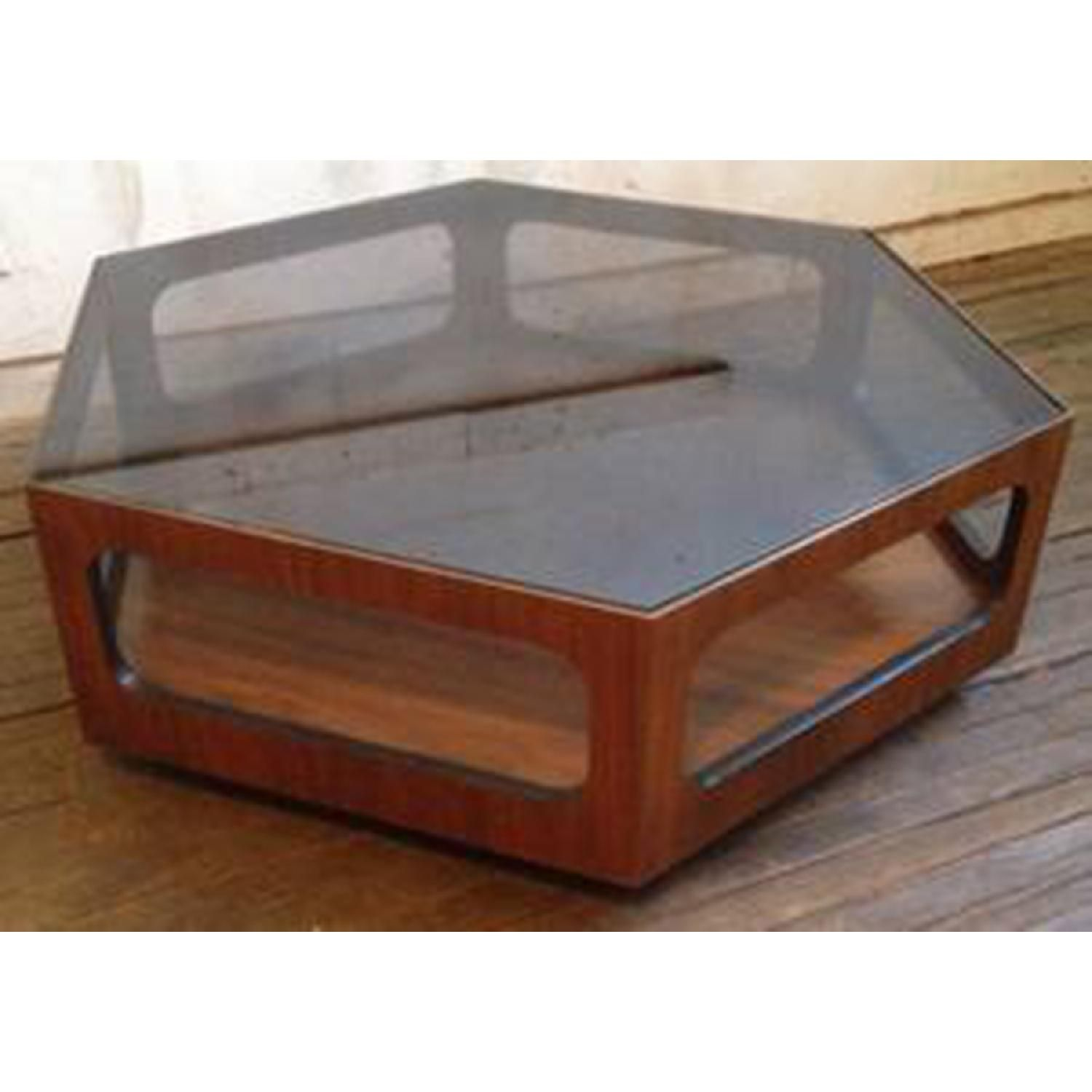 Lane Vintage MCM Walnut Hexagonal Coffee Table With Smoked Glass 0
