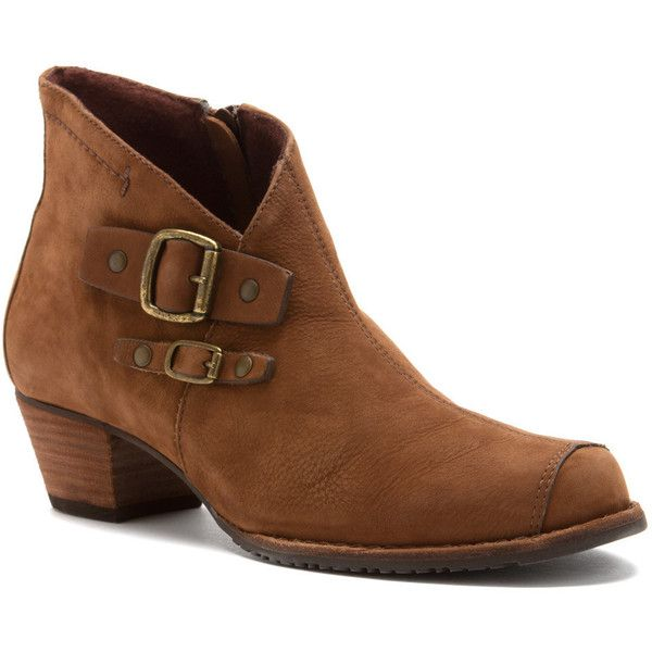 Elites Women's Cimmaron Boots (1,035 ILS) ❤ liked on Polyvore featuring  shoes, boots, ankle booties, ankle boots, cognac roughout leather, western  ankle ...