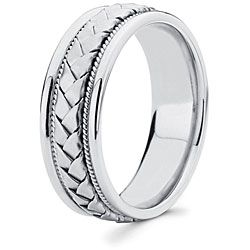 14k White Gold Mens Hand Braided Comfort Fit Wedding Band