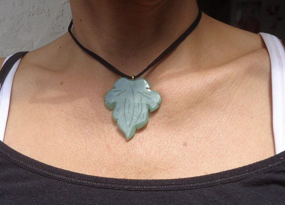Carved Leaf Natural Jade Gemstone Pendant by GrannysInspirations, $12.00