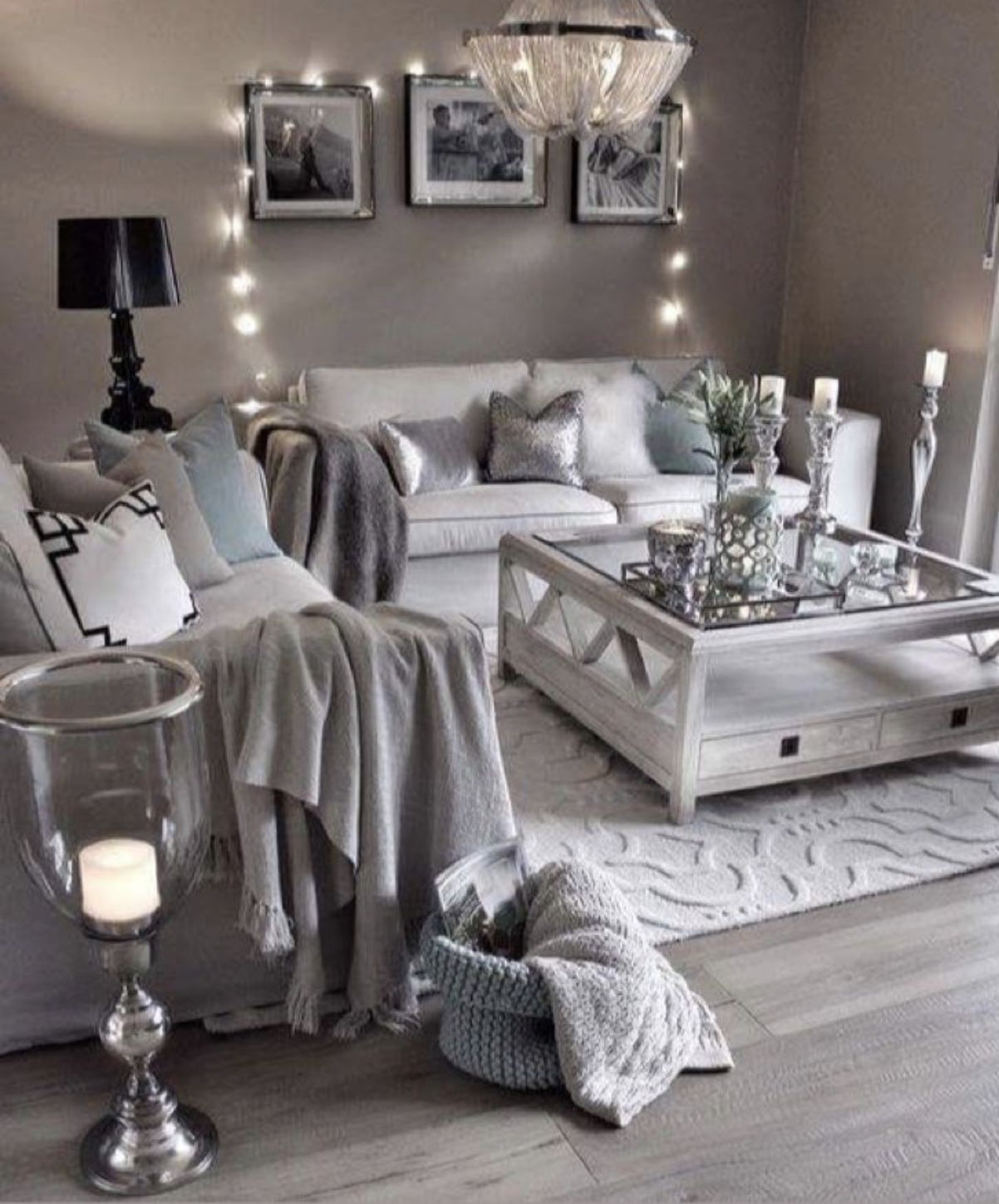 A Rustic Glam Bedroom Designed By Refresh Home And Featured By Thistlewood Farms Recreated For Less By Living Room Grey Farm House Living Room Chic Living Room