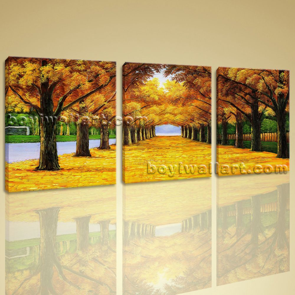 Large Canvas Print Wall Art Autumn Fall Park Tree Contemporary Home ...