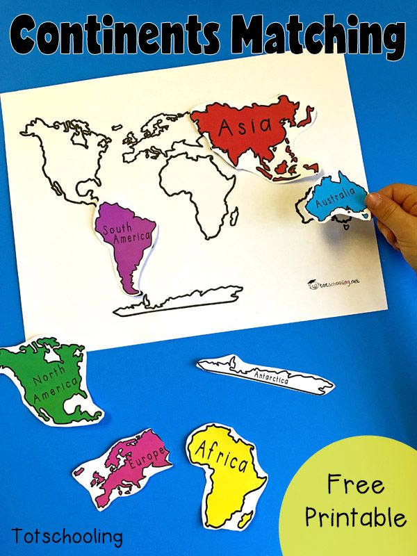 Superb FREE Geography Matching Activity With The 7 Continents Of The World.  Perfect For Toddlers, Preschoolers And Kindergarten To Introduce The  Continents.