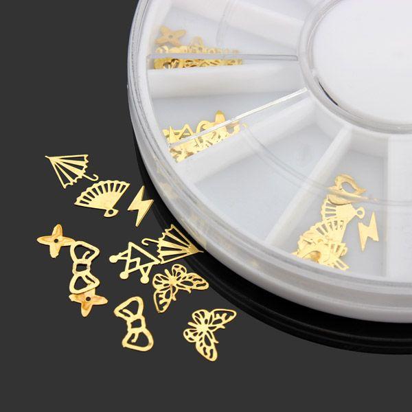 Metal del oro 3d arte de uñas bricolaje rueda de la decoración ...