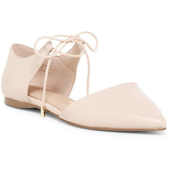Aldo Chessi Lace-Up Flat (125 BRL) ❤ liked on Polyvore featuring shoes, flats, bone, flat pointed toe shoes, lace up flat shoes, lace up pointed toe flats, flat shoes and leather shoes