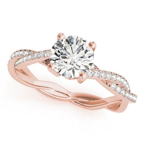 893177bf1 Diamond Twist Sidestone Accented Engagement Ring 18k Rose Gold (1.11ct),  Women's, Size: 3.42, Yellow