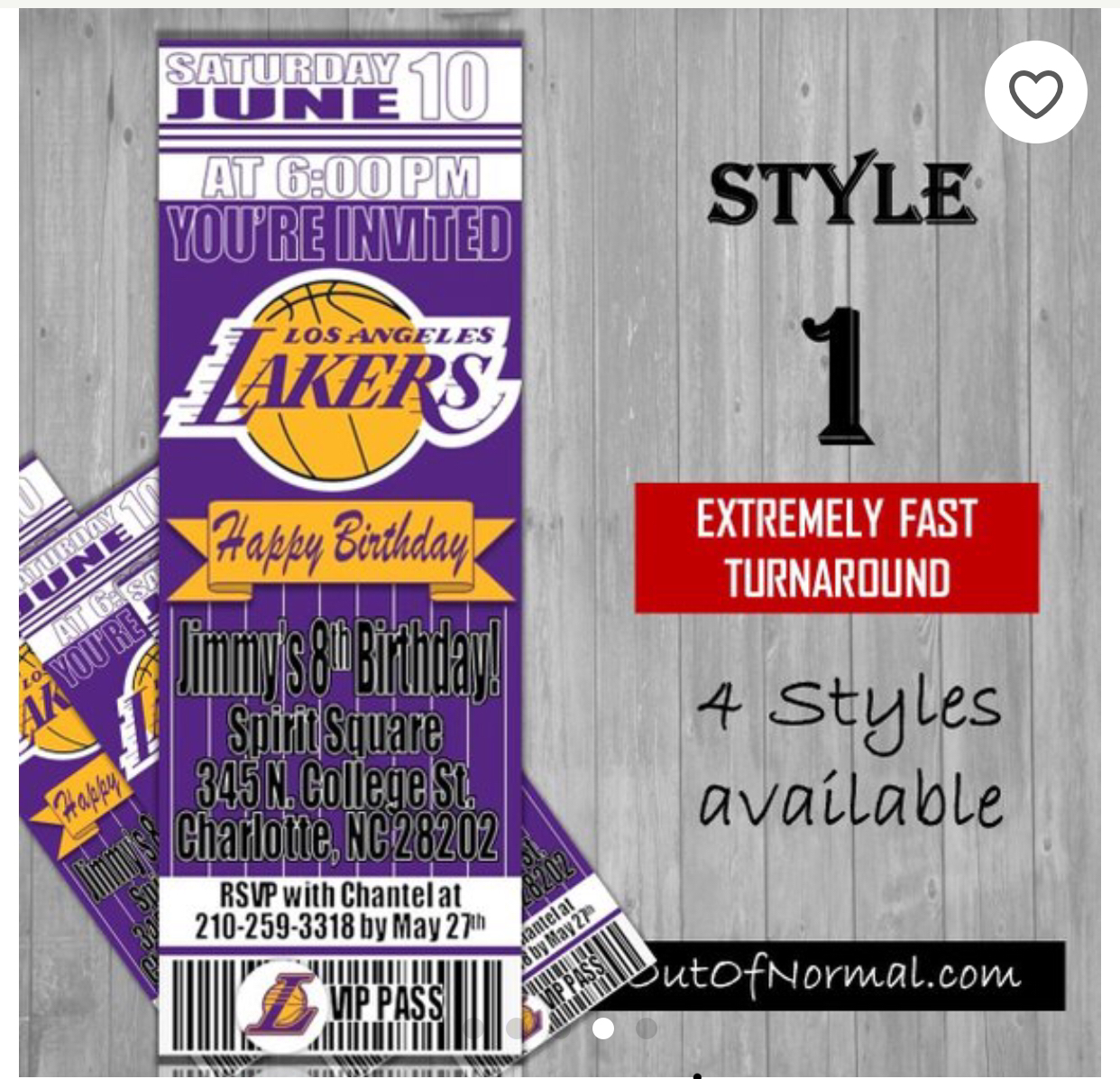 Los Angeles Lakers Basketball Ticket Style Invitation Invitations Basketball Tickets Birthday Invitations