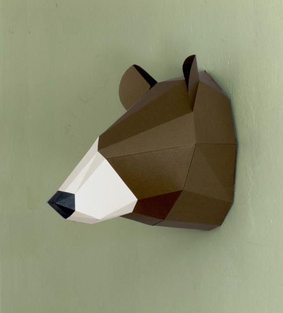 3d Wall Art Papercraft Bear Faux Taxidermy Printable Etsy Wall Decor Printables 3d Wall Art Wall Hanging Diy