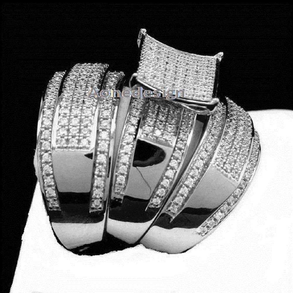14K White Gold Finish 925 Silver Diamond Trio Wedding Band