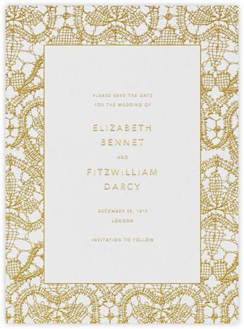 Paperless Post - Antique Lace (Save the Date) - Medium Gold