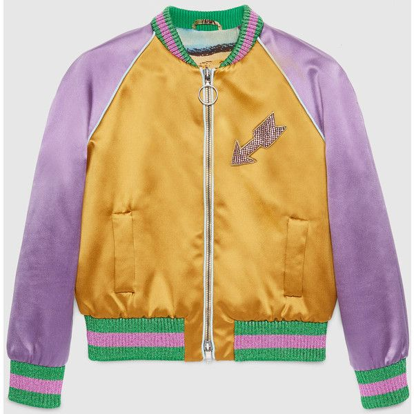 Gucci Embroidered Silk Bomber ($2,440) ❤ liked on Polyvore featuring  outerwear, jackets,