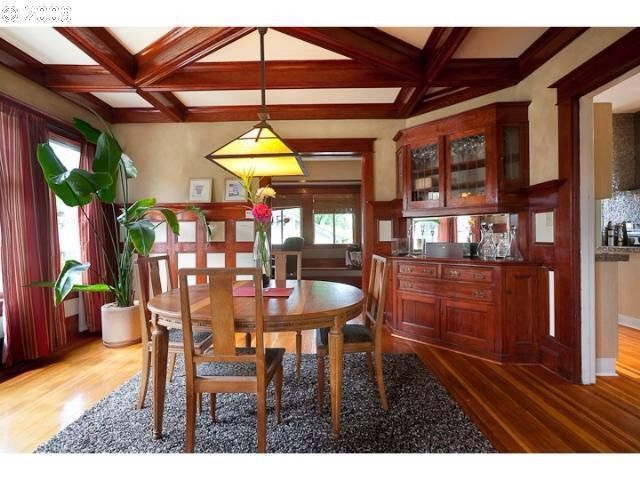 Arts And Crafts Dining Room Built In China Cabinet Box Beam Ceiling