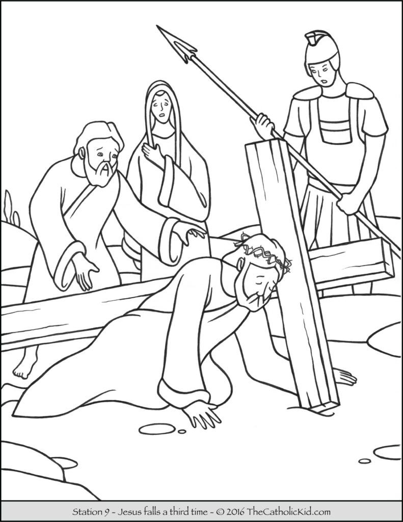 Stations Of The Cross Coloring Pages 9 Jesus Falls A Third Time